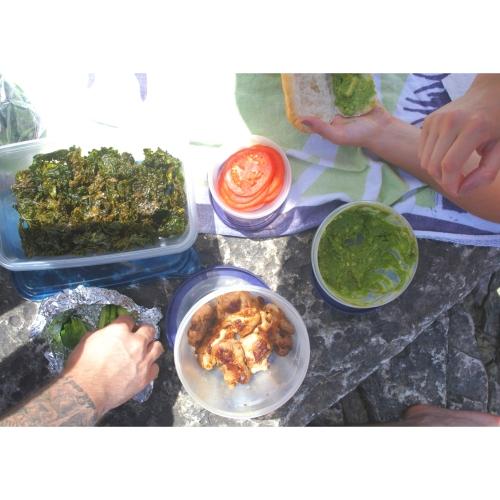 kale chips picnic spread bruce peninsula
